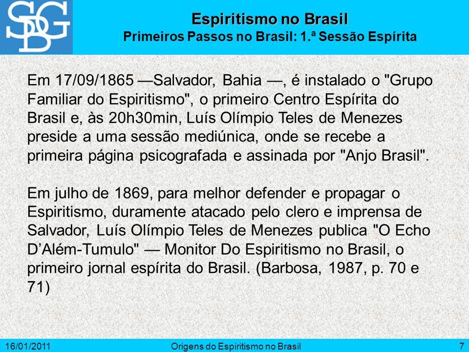 Primeiros Passos no Brasil: 1.ª Sessão Espírita