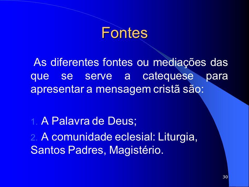 Fontes As diferentes fontes ou mediações das que se serve a catequese para apresentar a mensagem cristã são: