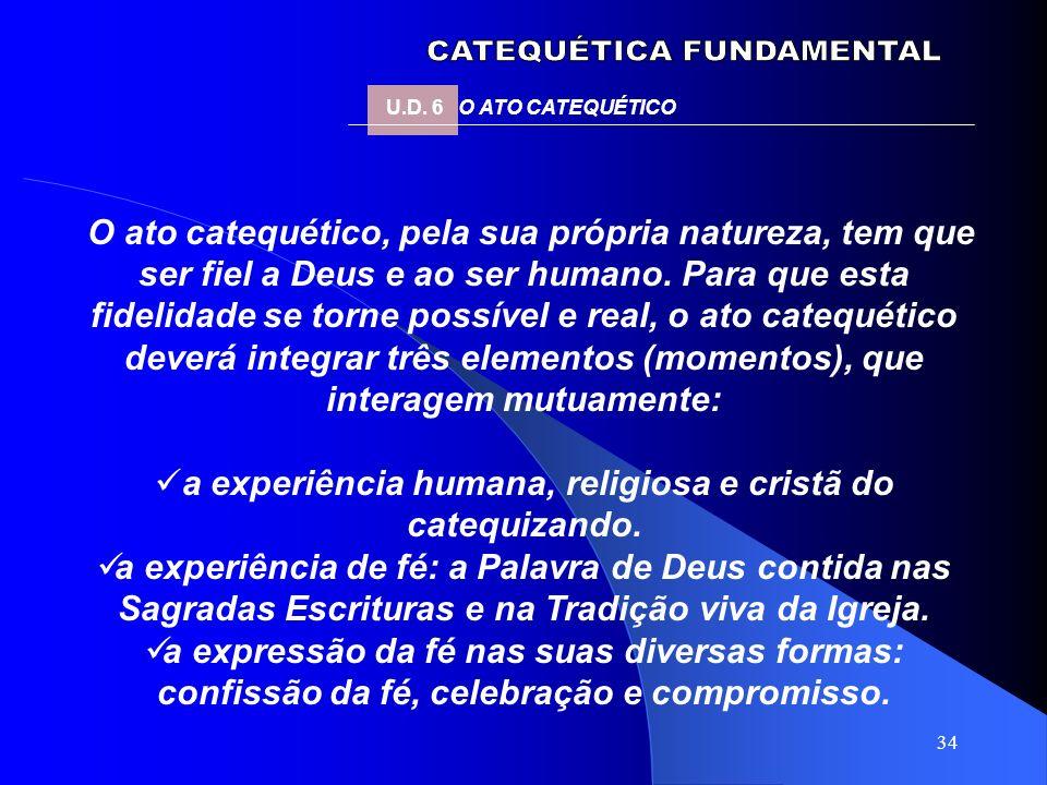 a experiência humana, religiosa e cristã do catequizando.