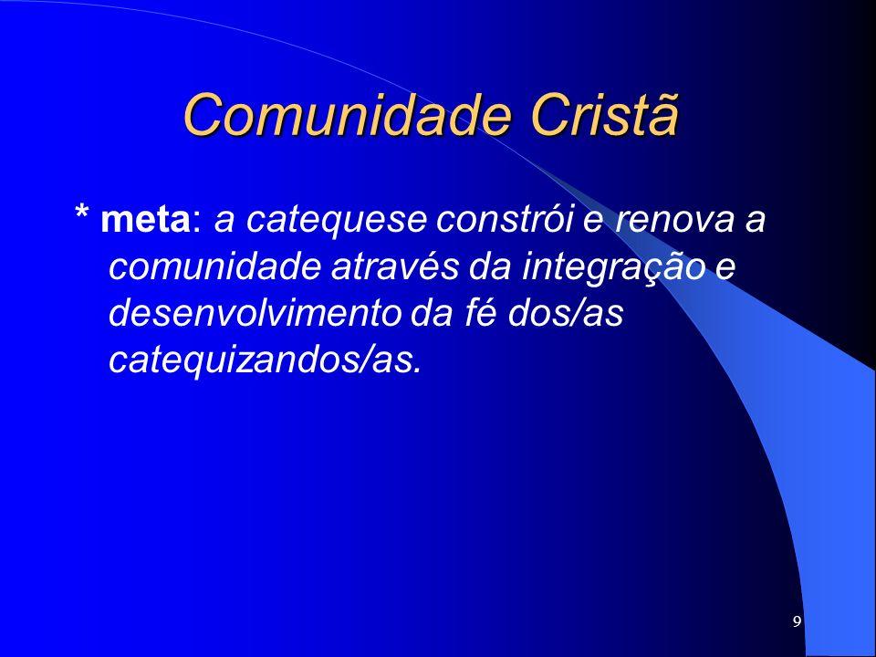 Comunidade Cristã * meta: a catequese constrói e renova a comunidade através da integração e desenvolvimento da fé dos/as catequizandos/as.