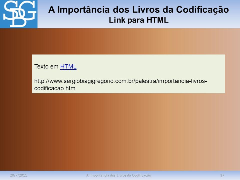 A Importância dos Livros da Codificação Link para HTML