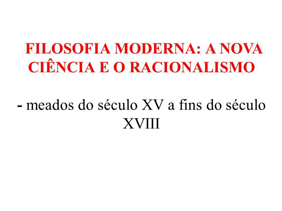 FILOSOFIA MODERNA: A NOVA CIÊNCIA E O RACIONALISMO