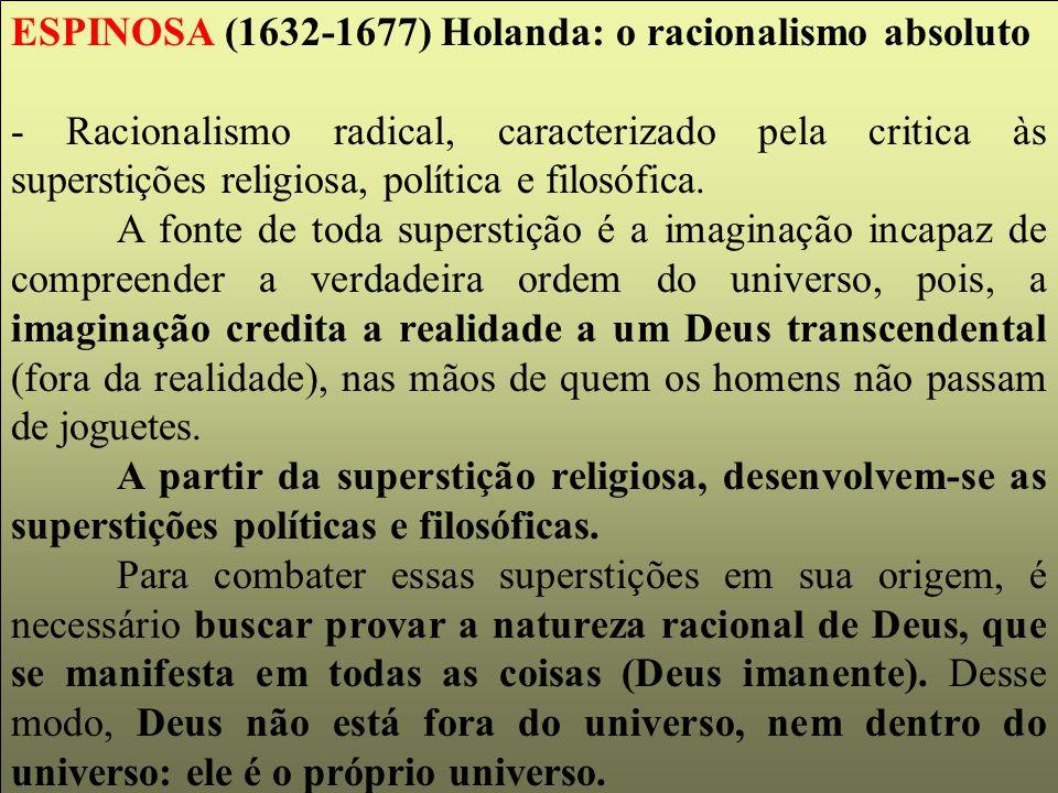 ESPINOSA (1632-1677) Holanda: o racionalismo absoluto