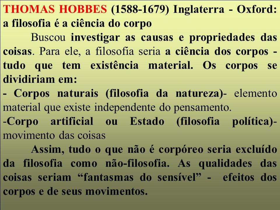 THOMAS HOBBES (1588-1679) Inglaterra - Oxford: a filosofia é a ciência do corpo