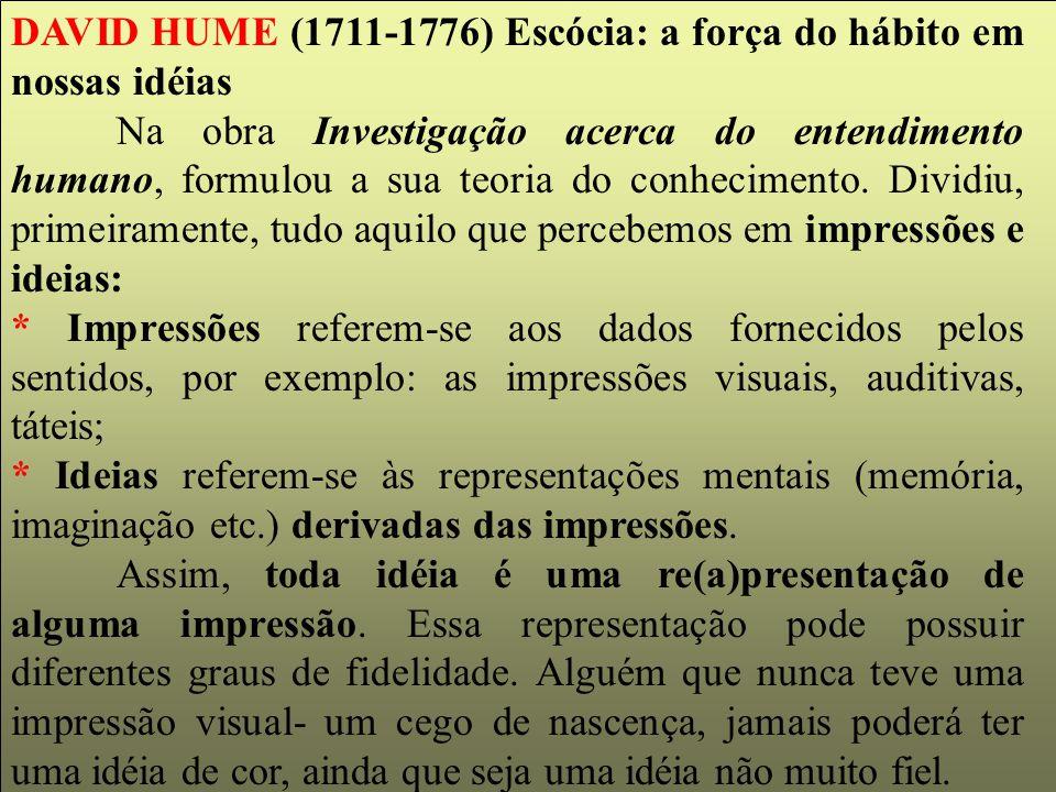 DAVID HUME (1711-1776) Escócia: a força do hábito em nossas idéias