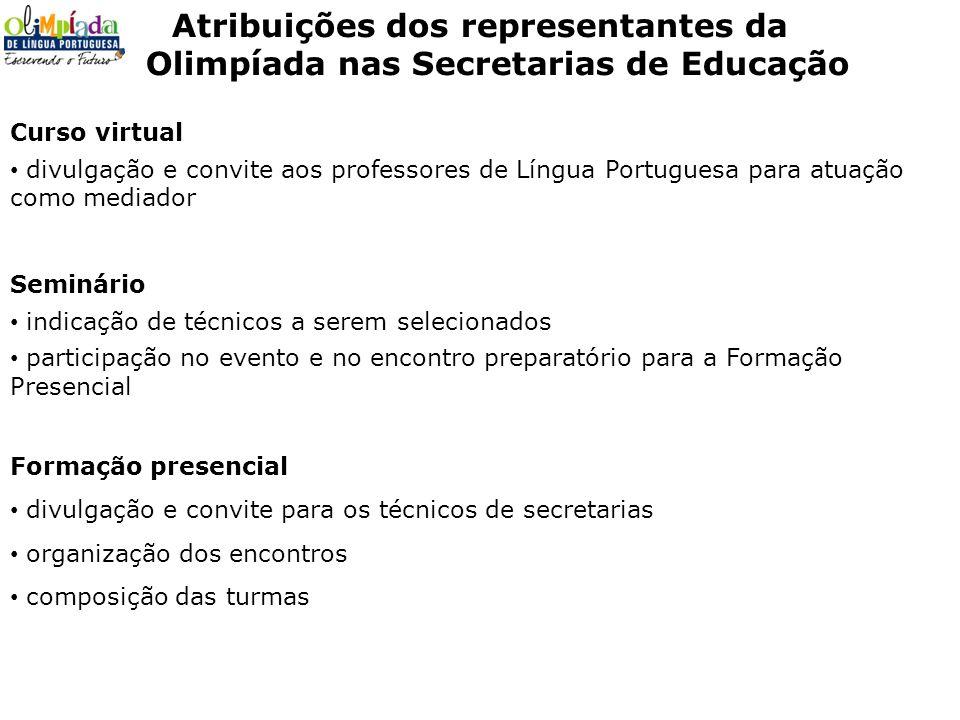 Atribuições dos representantes da Olimpíada nas Secretarias de Educação