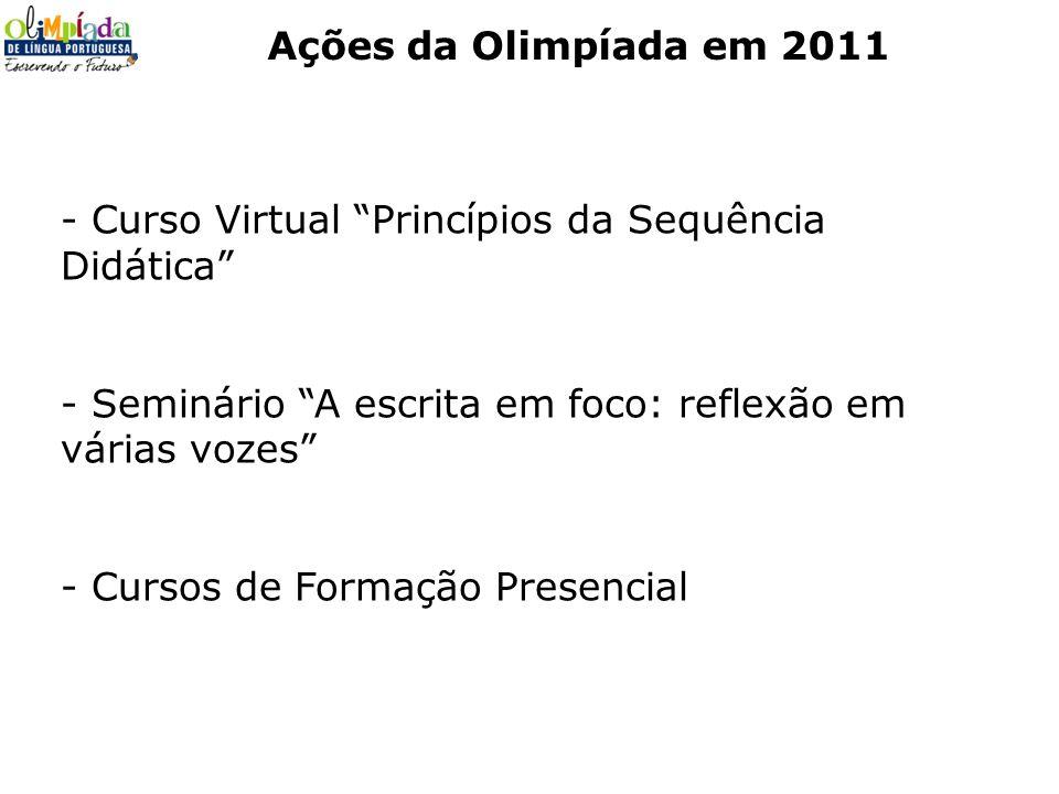 Ações da Olimpíada em 2011- Curso Virtual Princípios da Sequência Didática Seminário A escrita em foco: reflexão em várias vozes