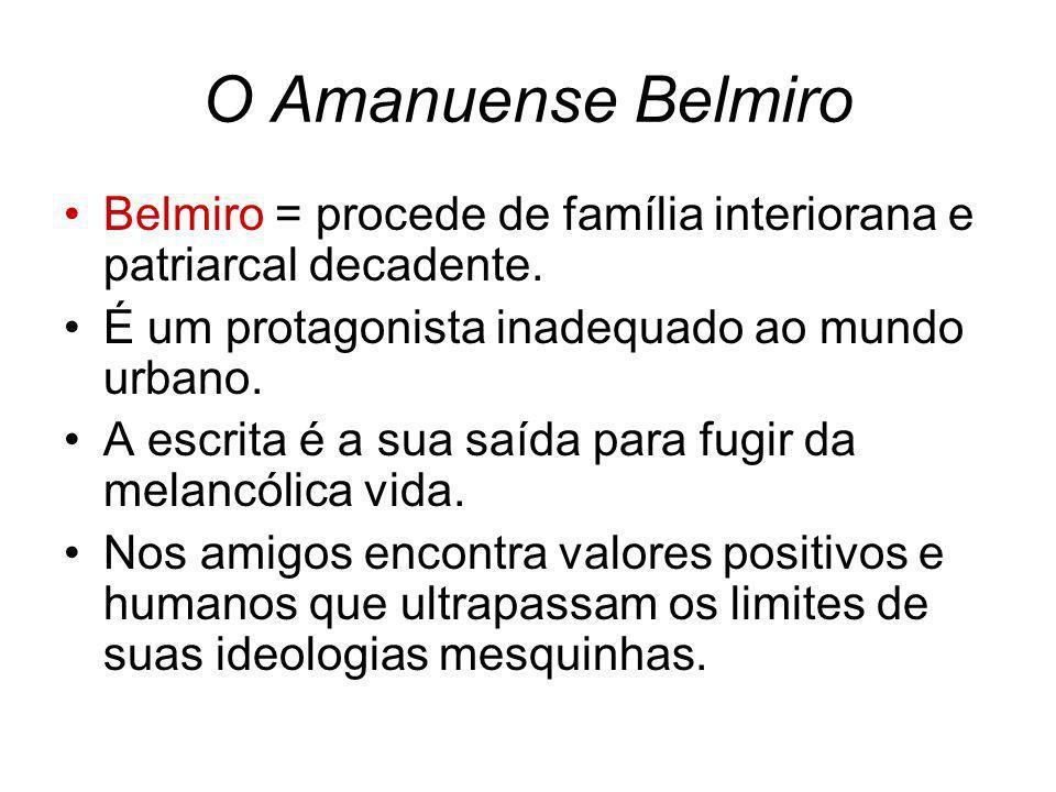 O Amanuense Belmiro Belmiro = procede de família interiorana e patriarcal decadente. É um protagonista inadequado ao mundo urbano.