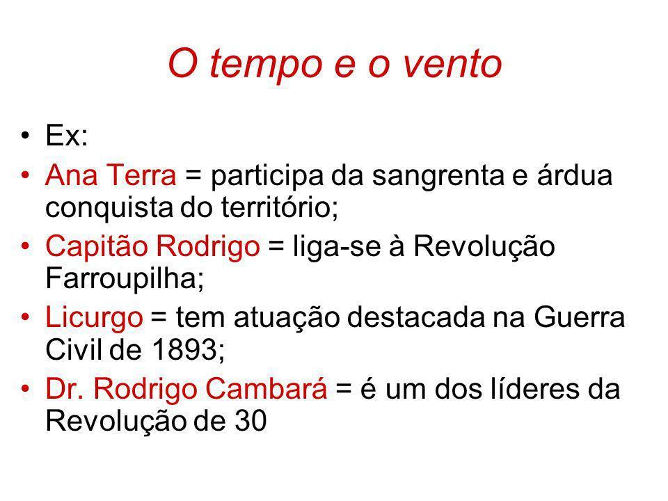 O tempo e o ventoEx: Ana Terra = participa da sangrenta e árdua conquista do território; Capitão Rodrigo = liga-se à Revolução Farroupilha;