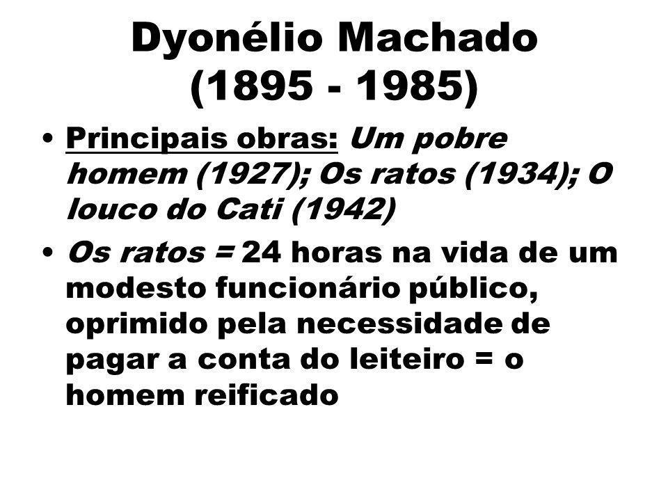 Dyonélio Machado (1895 - 1985)Principais obras: Um pobre homem (1927); Os ratos (1934); O louco do Cati (1942)