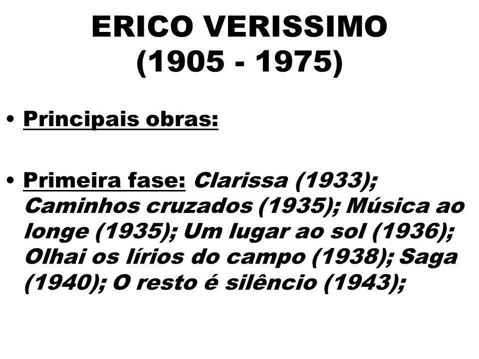 ERICO VERISSIMO (1905 - 1975) Principais obras: