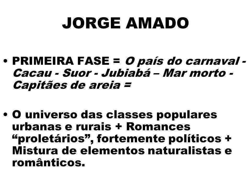 JORGE AMADO PRIMEIRA FASE = O país do carnaval -Cacau - Suor - Jubiabá – Mar morto - Capitães de areia =
