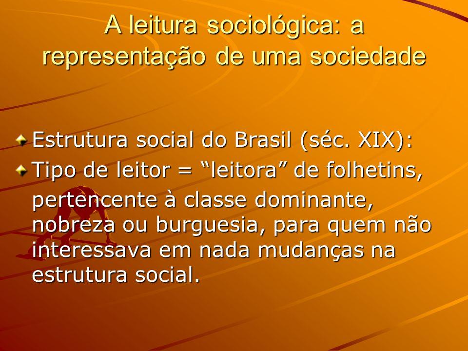 A leitura sociológica: a representação de uma sociedade