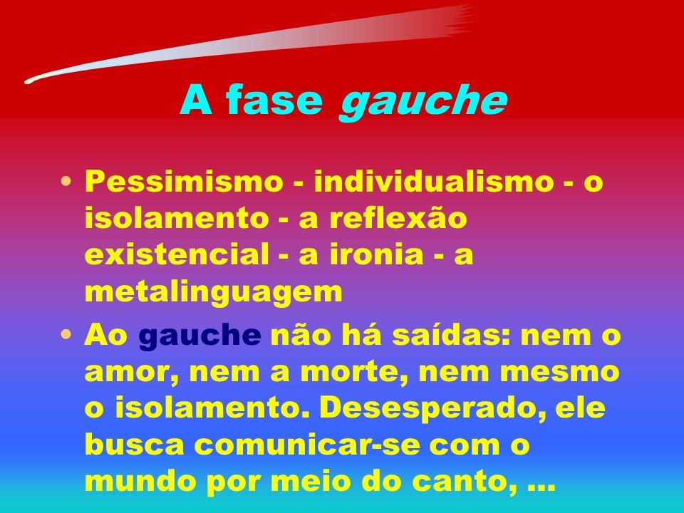 A fase gauche Pessimismo - individualismo - o isolamento - a reflexão existencial - a ironia - a metalinguagem.