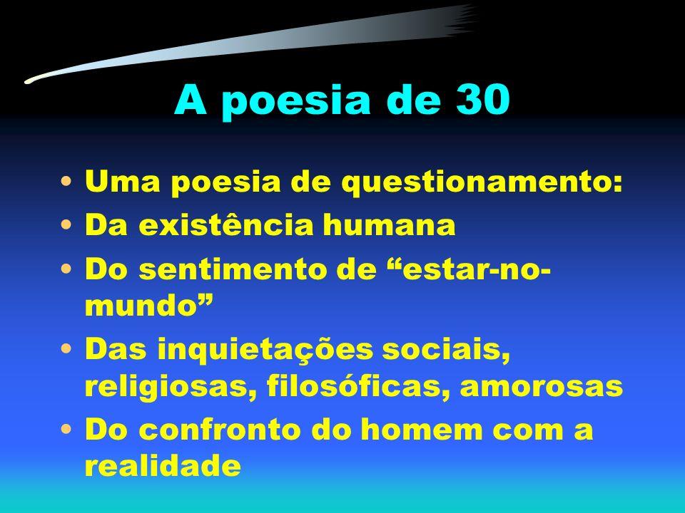 A poesia de 30 Uma poesia de questionamento: Da existência humana