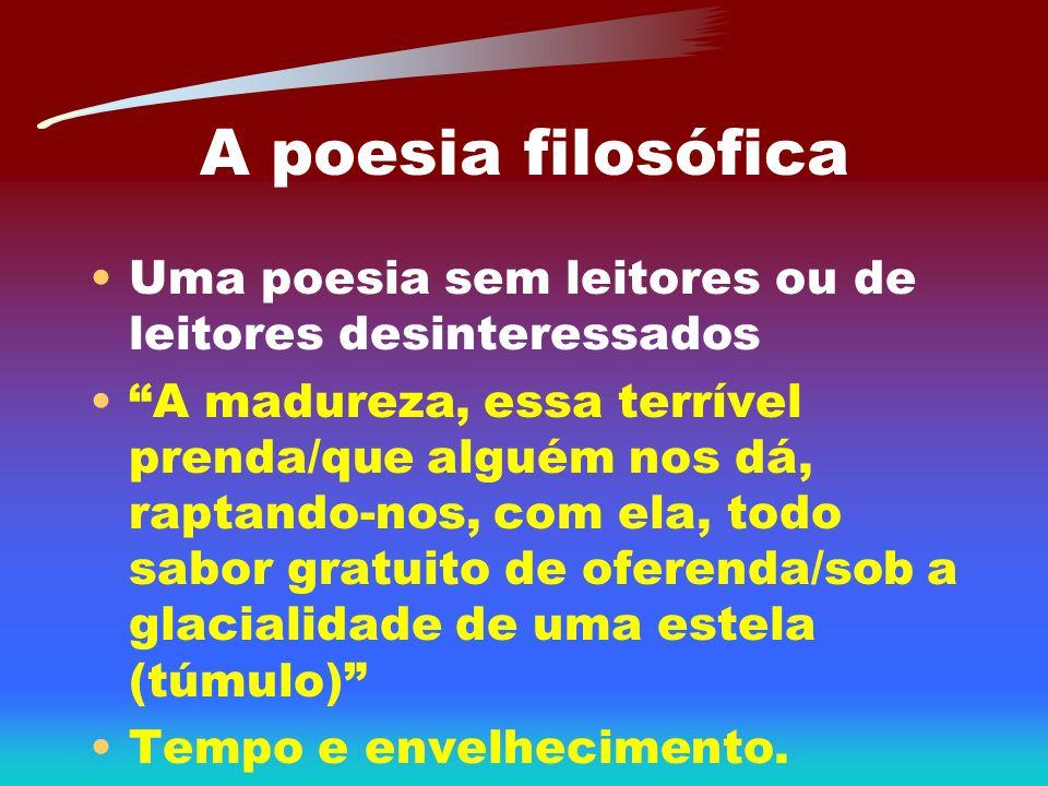 A poesia filosófica Uma poesia sem leitores ou de leitores desinteressados.