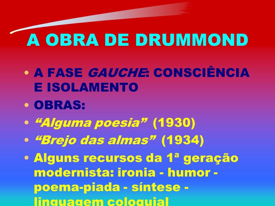 A OBRA DE DRUMMOND A FASE GAUCHE: CONSCIÊNCIA E ISOLAMENTO OBRAS: