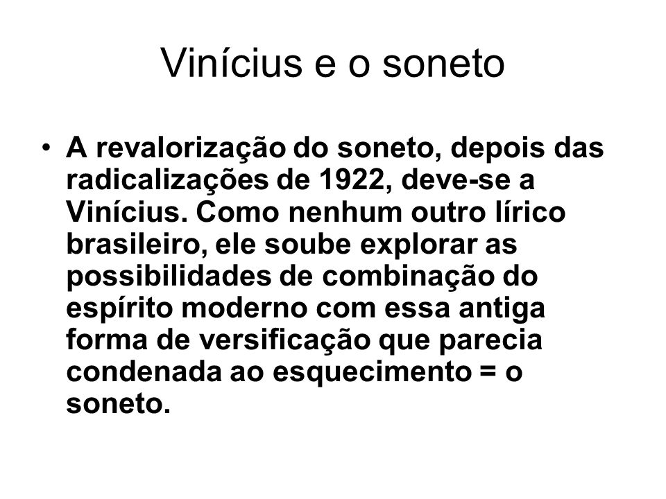Vinícius e o soneto