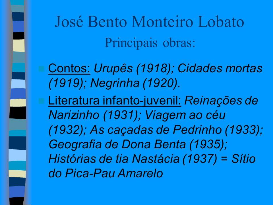 José Bento Monteiro Lobato Principais obras: