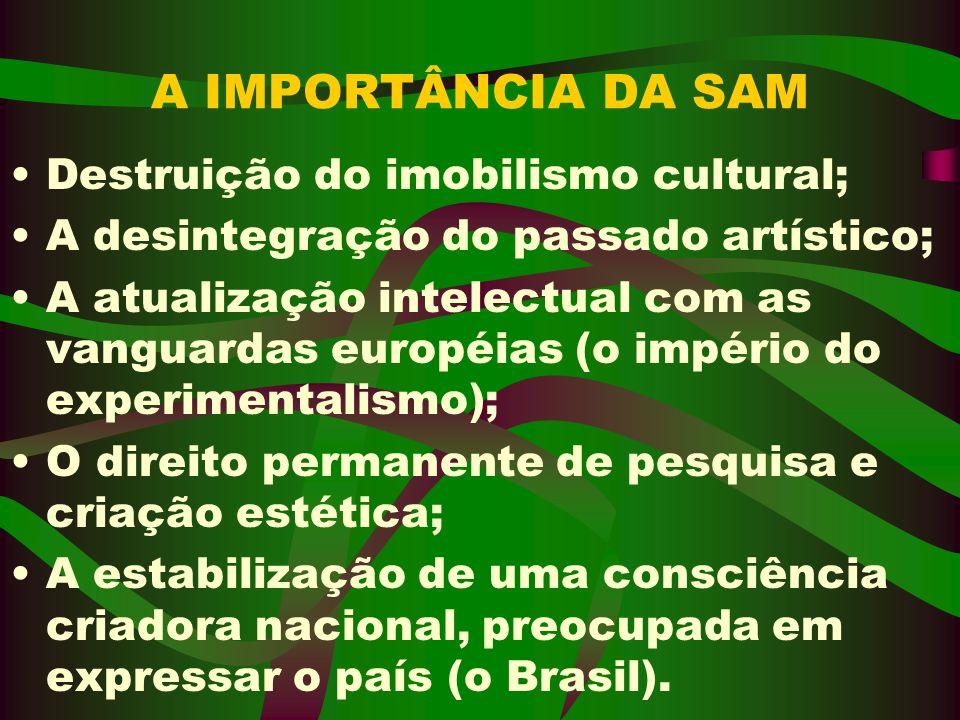A IMPORTÂNCIA DA SAM Destruição do imobilismo cultural;