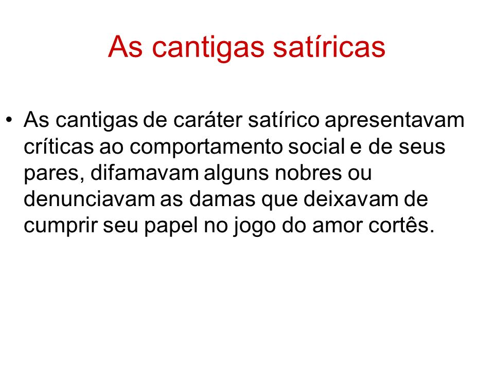 As cantigas satíricas