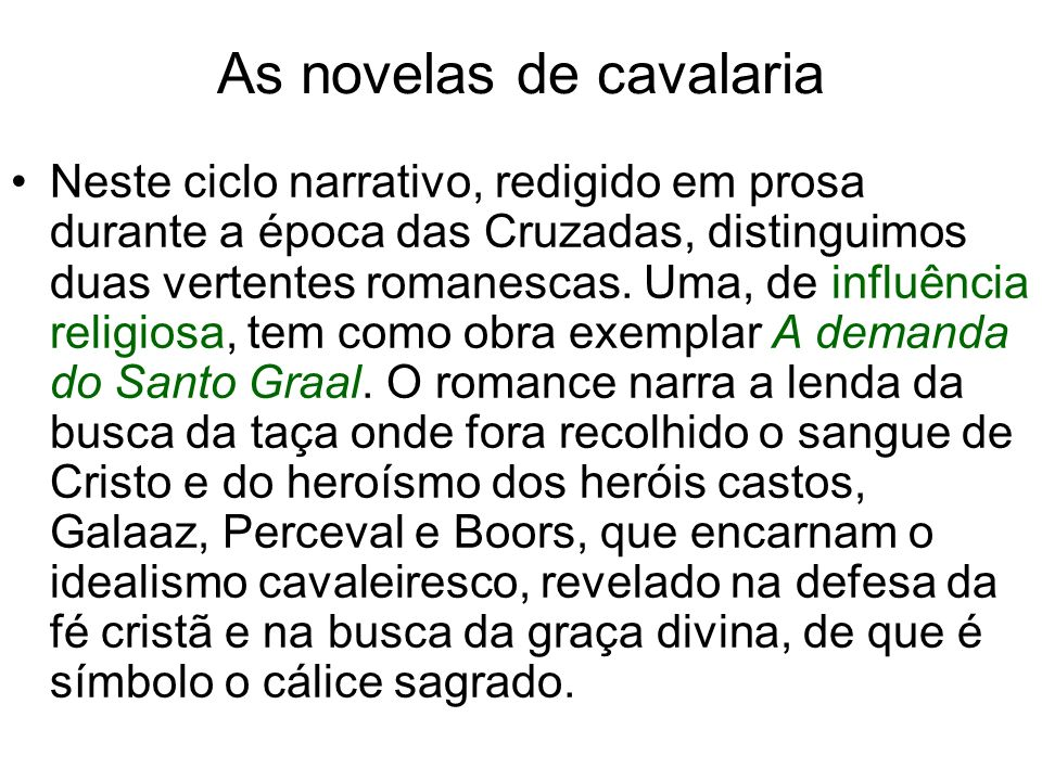 As novelas de cavalaria