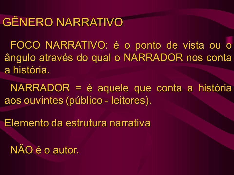 GÊNERO NARRATIVO FOCO NARRATIVO: é o ponto de vista ou o ângulo através do qual o NARRADOR nos conta a história.