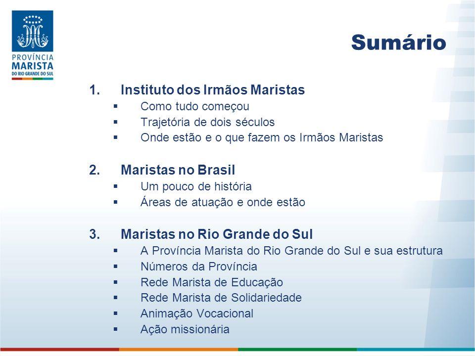 Sumário Instituto dos Irmãos Maristas Maristas no Brasil
