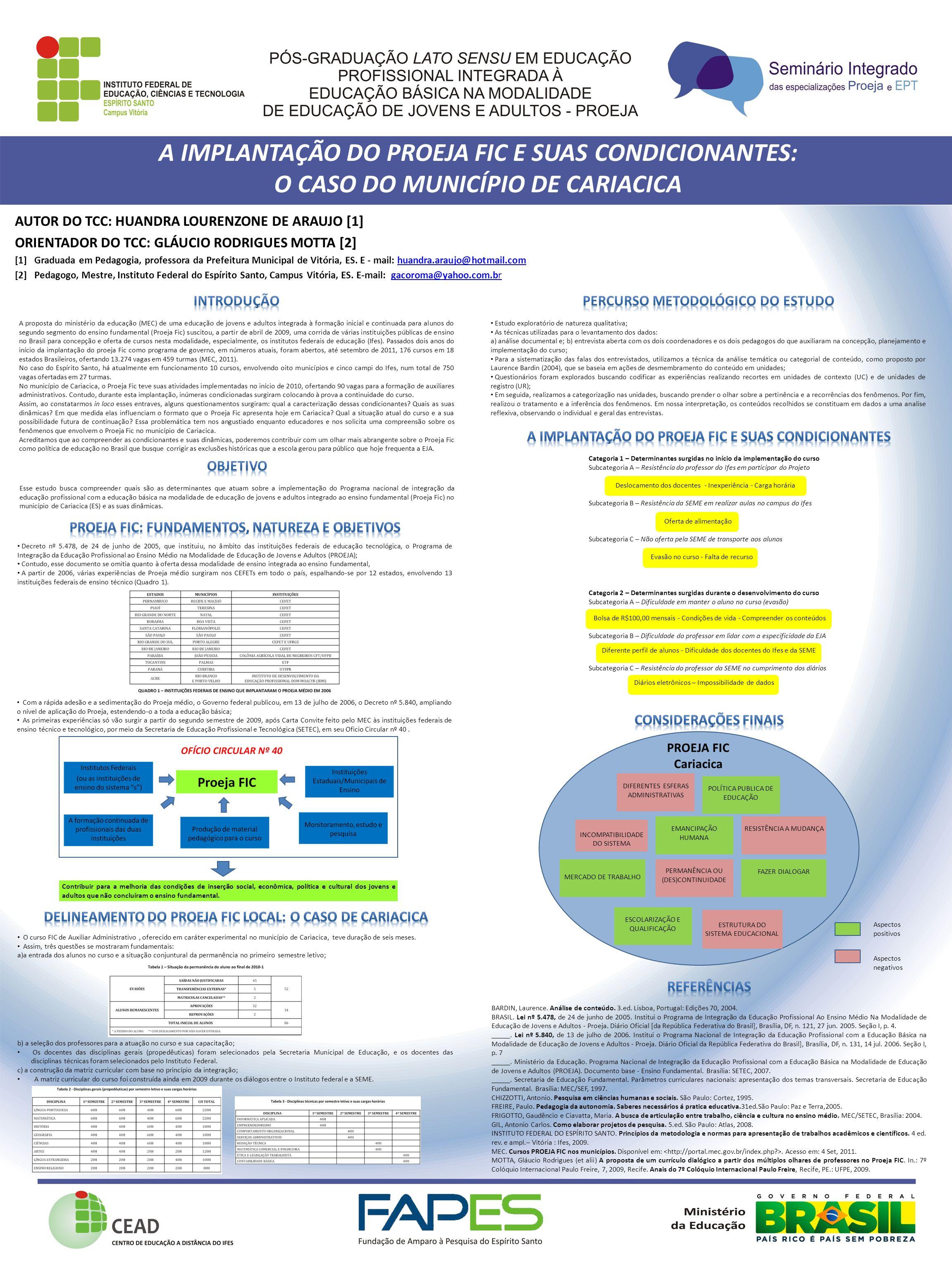 A IMPLANTAÇÃO DO PROEJA FIC E SUAS CONDICIONANTES: O CASO DO MUNICÍPIO DE CARIACICA