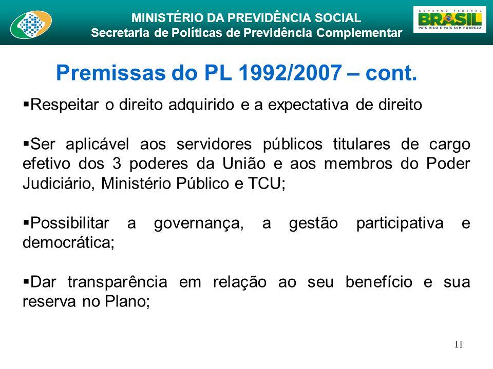 Premissas do PL 1992/2007 – cont. Respeitar o direito adquirido e a expectativa de direito.