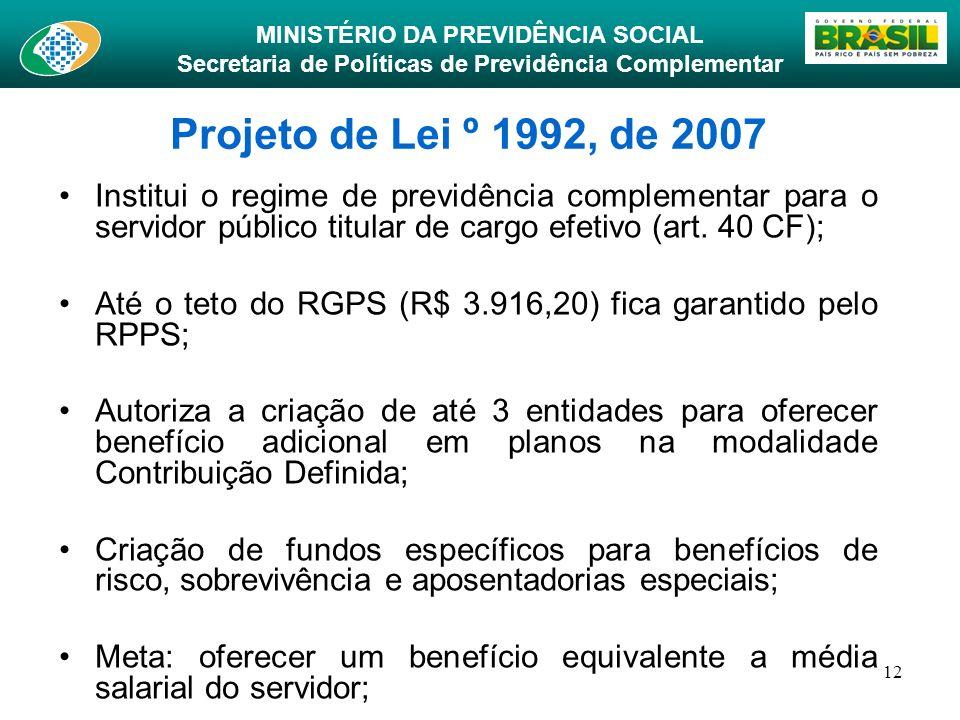 Projeto de Lei º 1992, de 2007Institui o regime de previdência complementar para o servidor público titular de cargo efetivo (art. 40 CF);