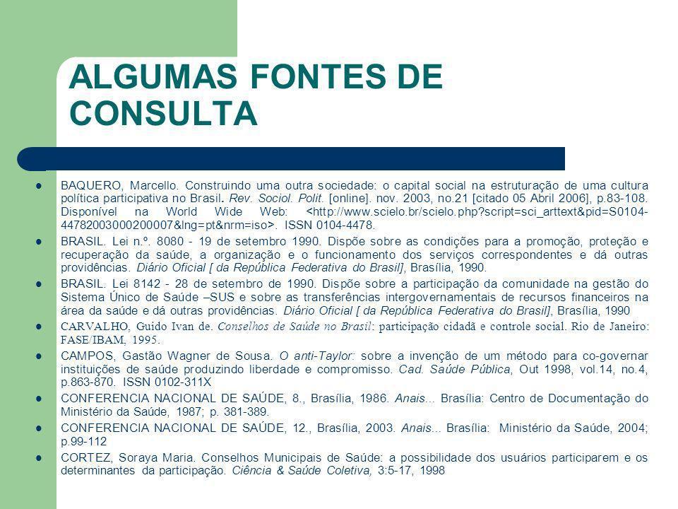 ALGUMAS FONTES DE CONSULTA