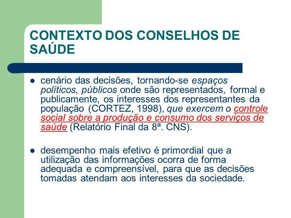 CONTEXTO DOS CONSELHOS DE SAÚDE