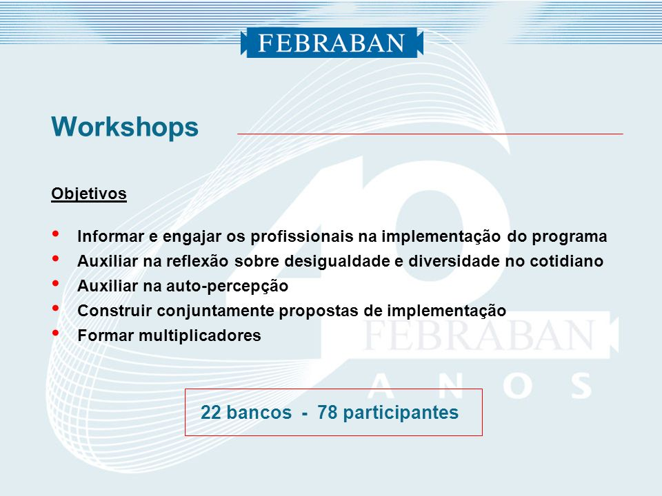 22 bancos - 78 participantes