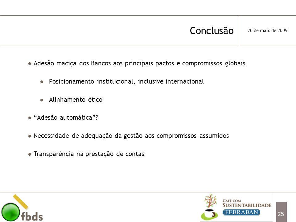 Conclusão 20 de maio de 2009. Adesão maciça dos Bancos aos principais pactos e compromissos globais.