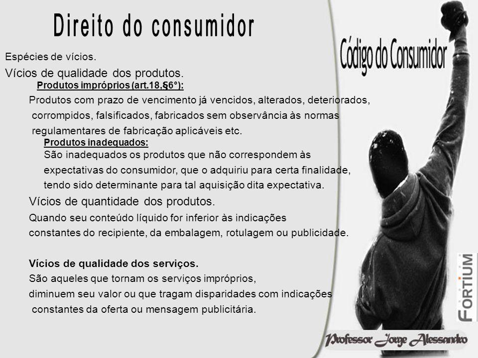 Direito do consumidor Espécies de vícios. Vícios de qualidade dos produtos. Produtos impróprios (art.18,§6°):