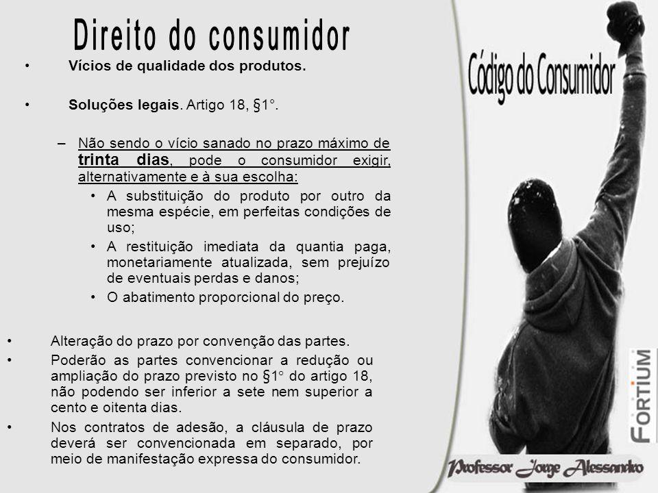 Direito do consumidor Vícios de qualidade dos produtos.
