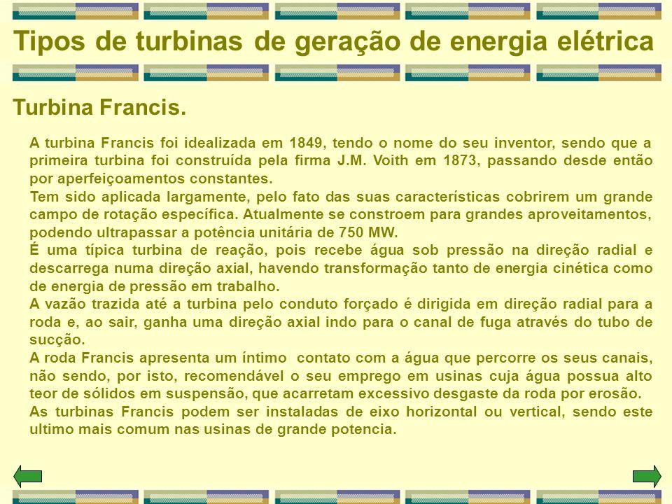 Tipos de turbinas de geração de energia elétrica