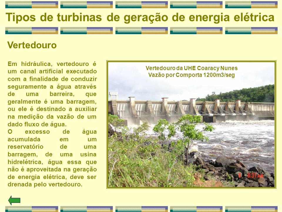 Vertedouro da UHE Coaracy Nunes Vazão por Comporta 1200m3/seg