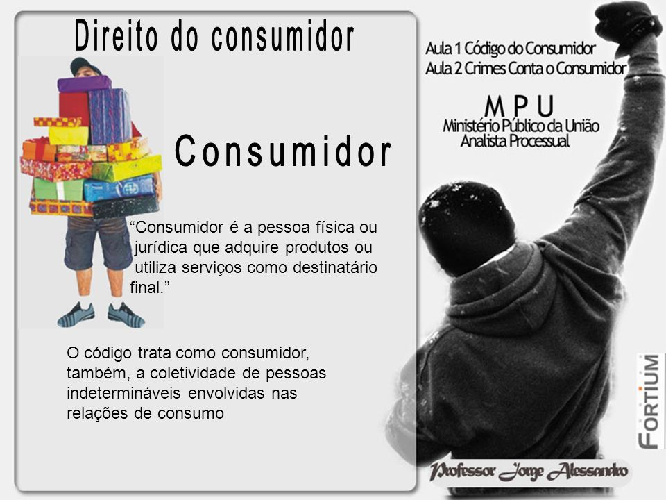 Direito do consumidor Consumidor Consumidor é a pessoa física ou
