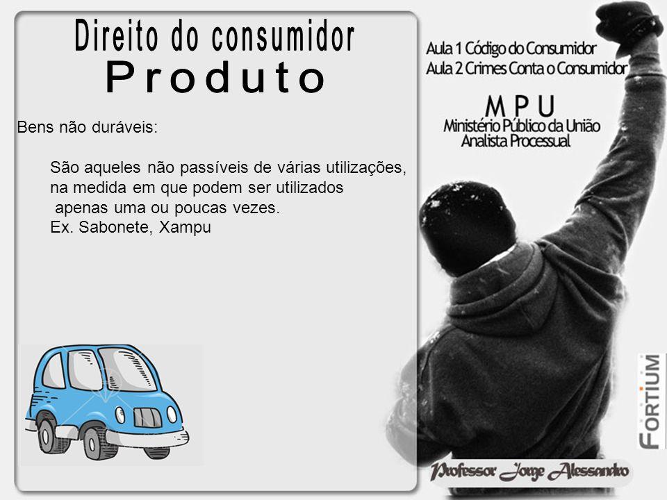 Direito do consumidor Produto Bens não duráveis: