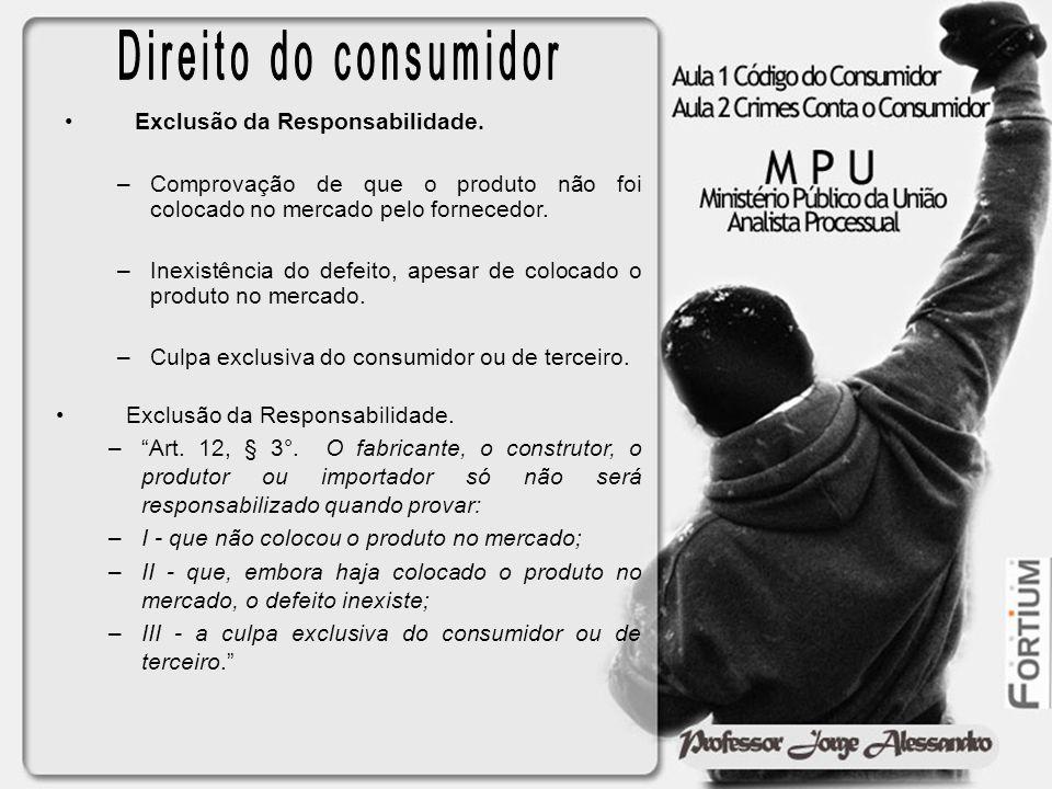 Direito do consumidor Exclusão da Responsabilidade.