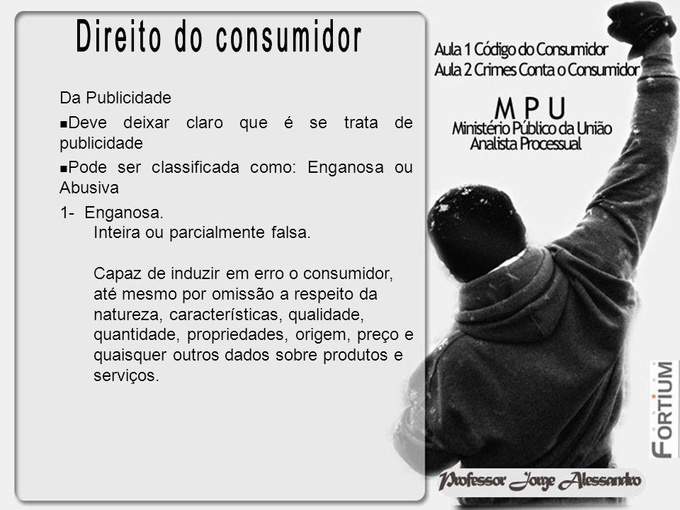 Direito do consumidor Da Publicidade