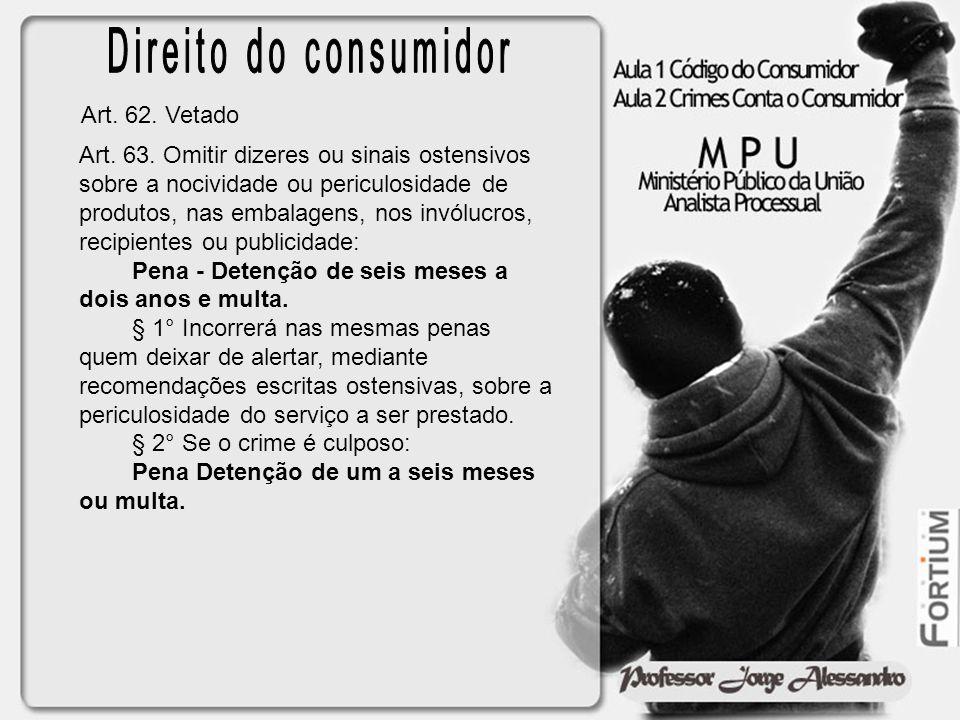 Direito do consumidor Art. 62. Vetado
