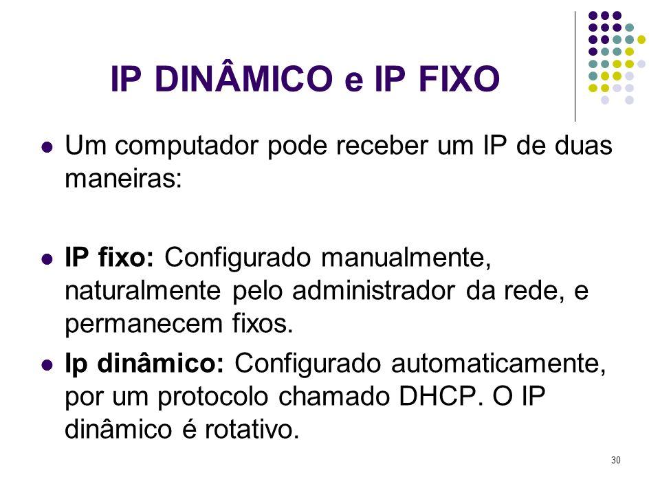 IP DINÂMICO e IP FIXO Um computador pode receber um IP de duas maneiras: