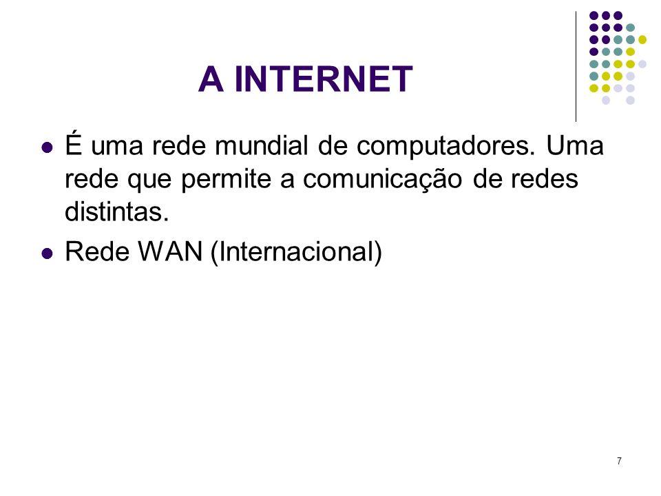 A INTERNET É uma rede mundial de computadores. Uma rede que permite a comunicação de redes distintas.