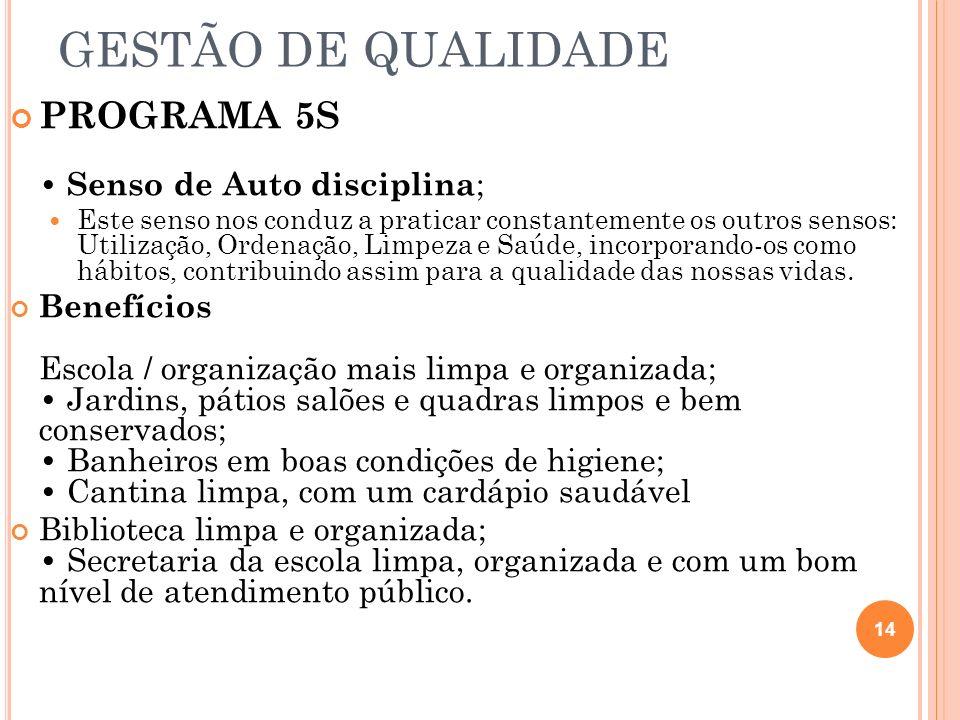 GESTÃO DE QUALIDADE PROGRAMA 5S • Senso de Auto disciplina;