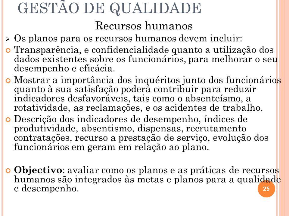 GESTÃO DE QUALIDADE Recursos humanos