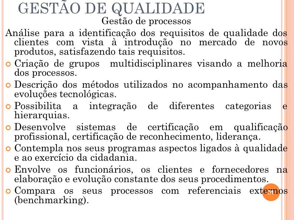 GESTÃO DE QUALIDADE Gestão de processos