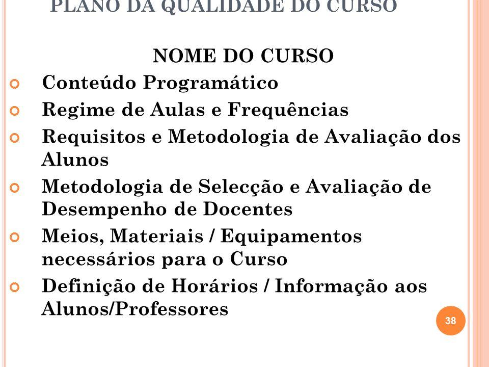 PLANO DA QUALIDADE DO CURSO